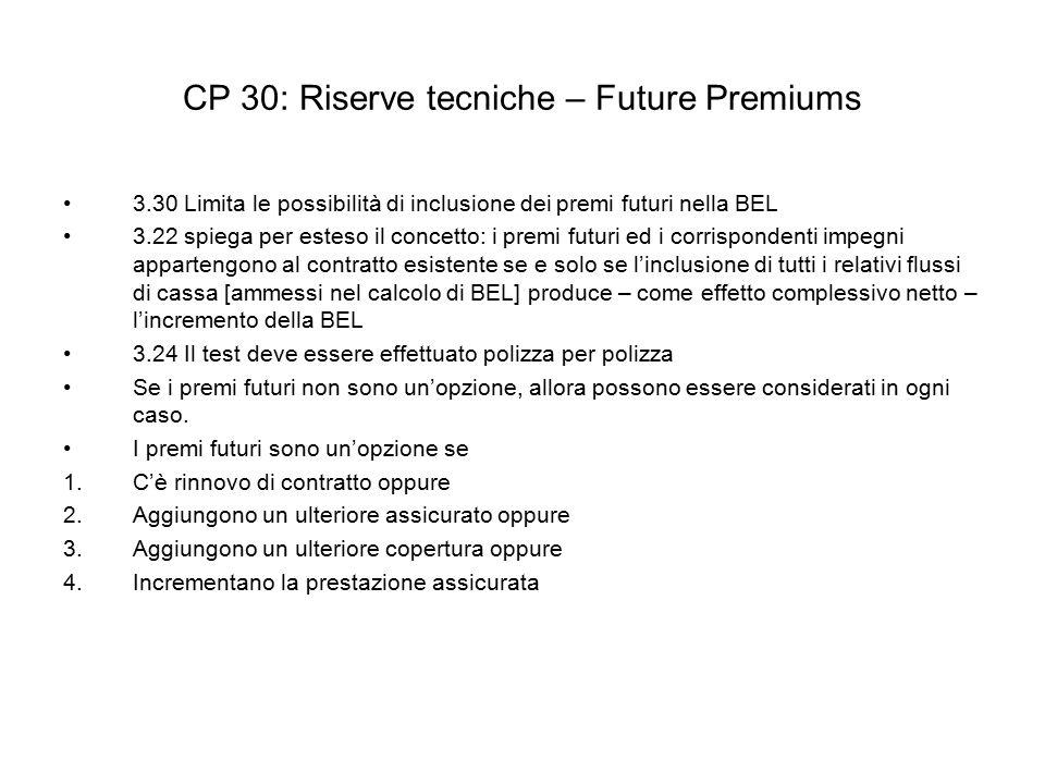 CP 30: Riserve tecniche – Future Premiums