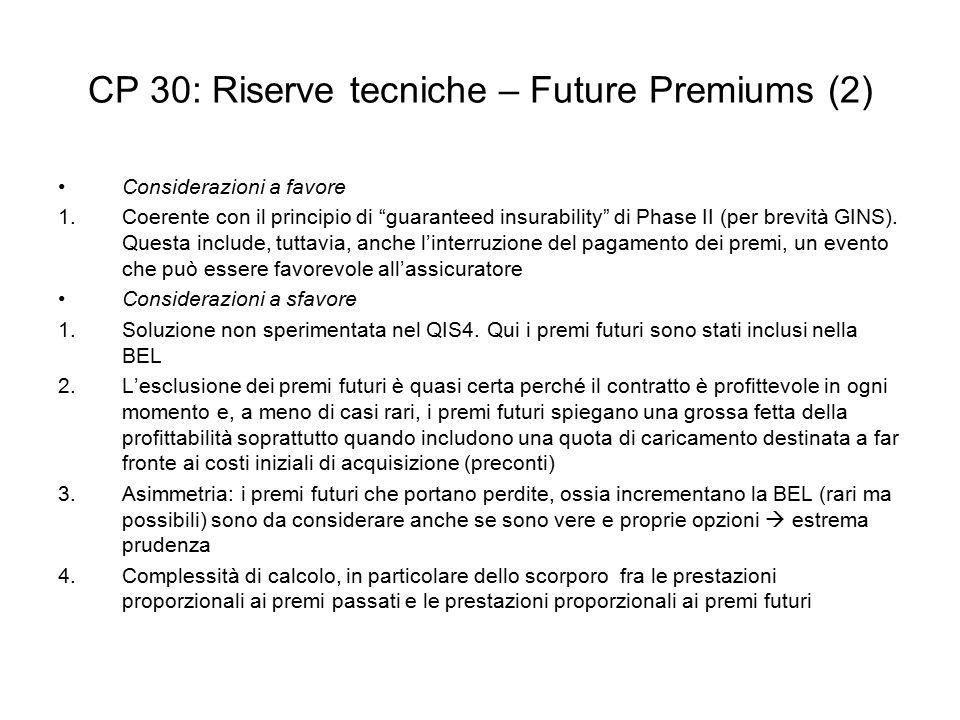 CP 30: Riserve tecniche – Future Premiums (2)