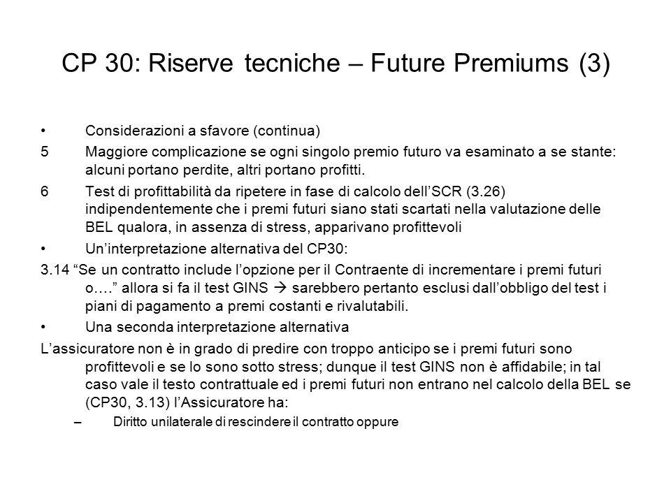 CP 30: Riserve tecniche – Future Premiums (3)