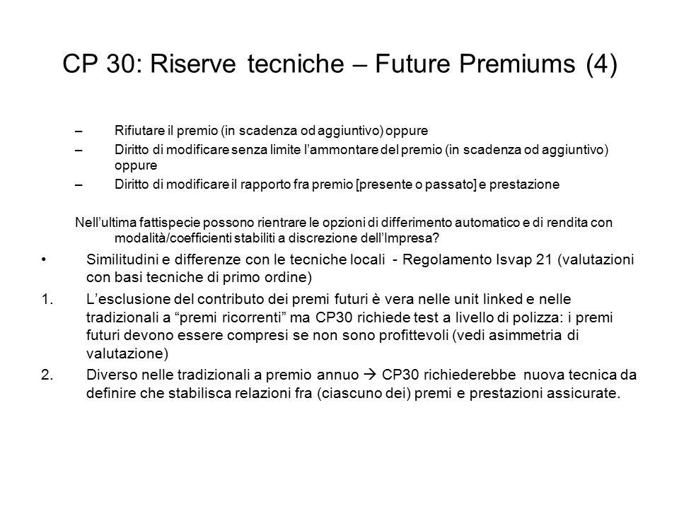 CP 30: Riserve tecniche – Future Premiums (4)