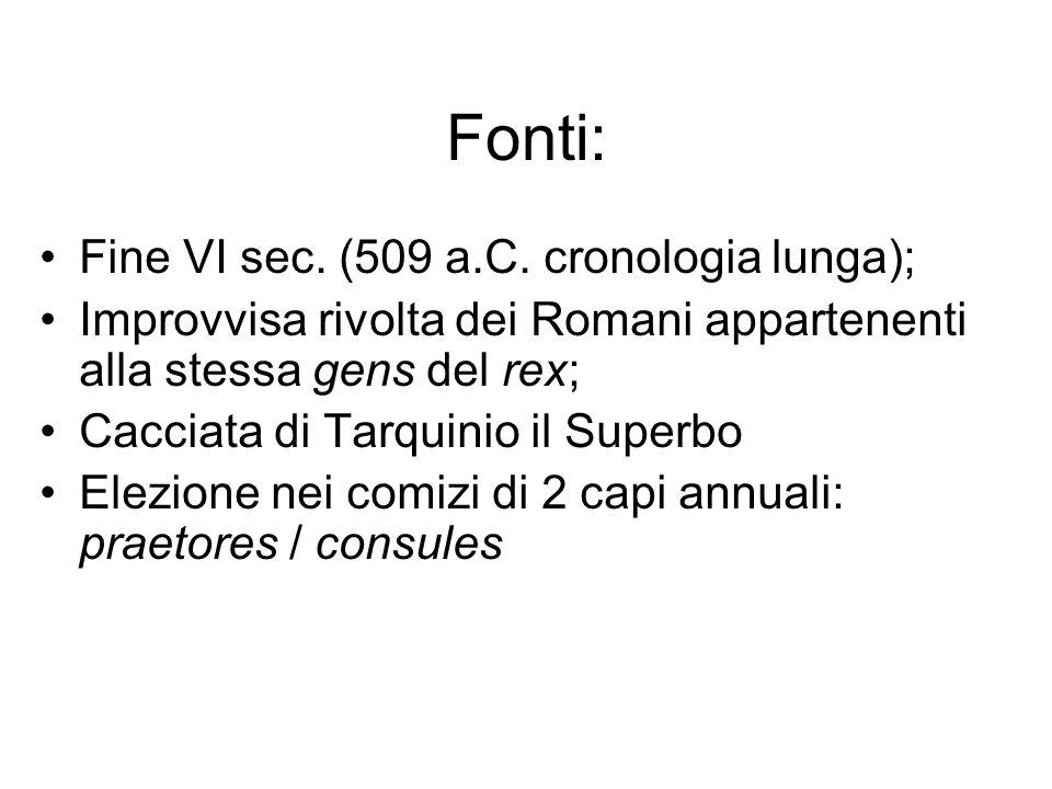 Fonti: Fine VI sec. (509 a.C. cronologia lunga);