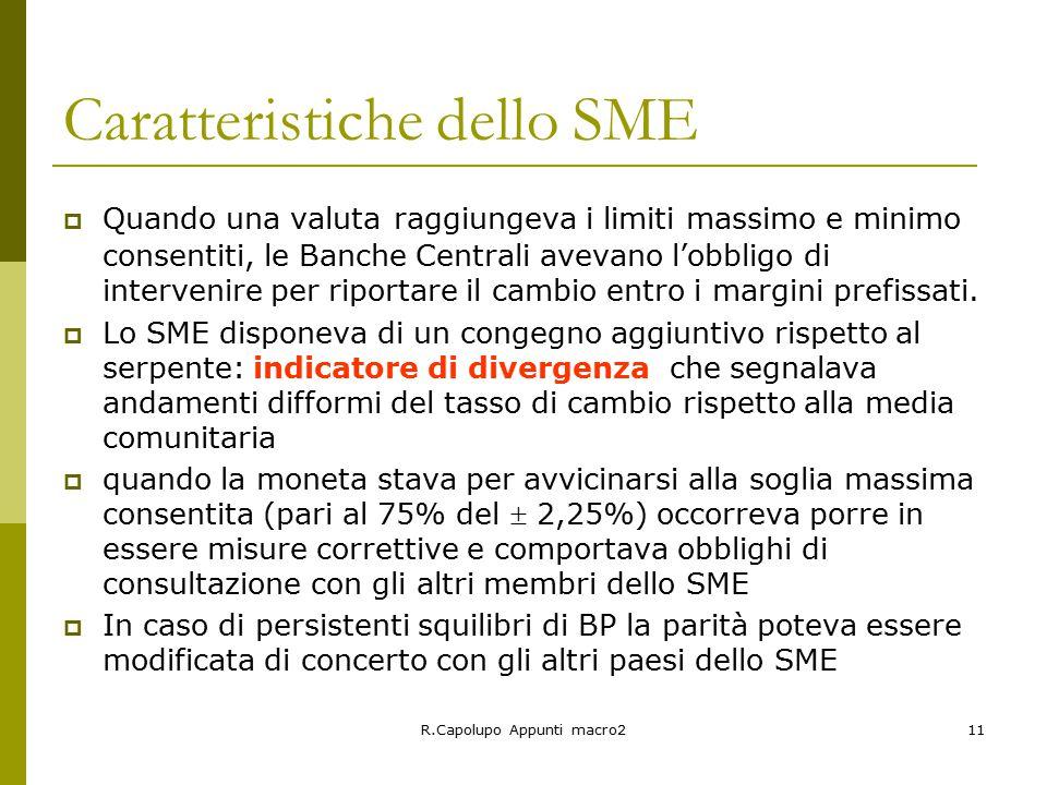 Caratteristiche dello SME