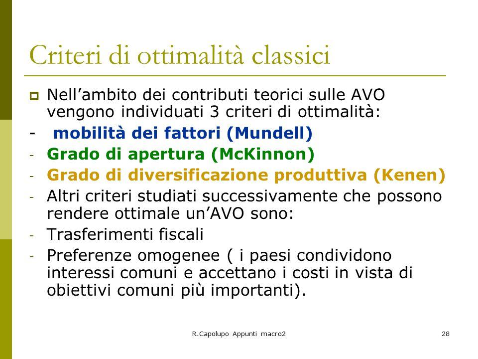 Criteri di ottimalità classici