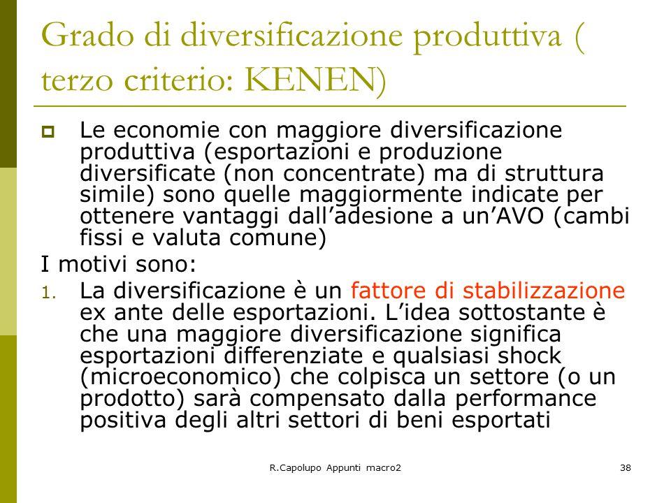 Grado di diversificazione produttiva ( terzo criterio: KENEN)