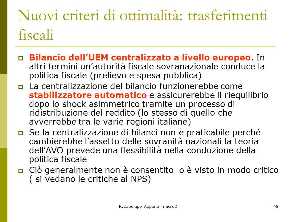 Nuovi criteri di ottimalità: trasferimenti fiscali