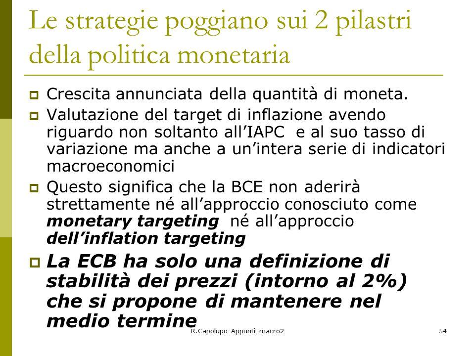 Le strategie poggiano sui 2 pilastri della politica monetaria