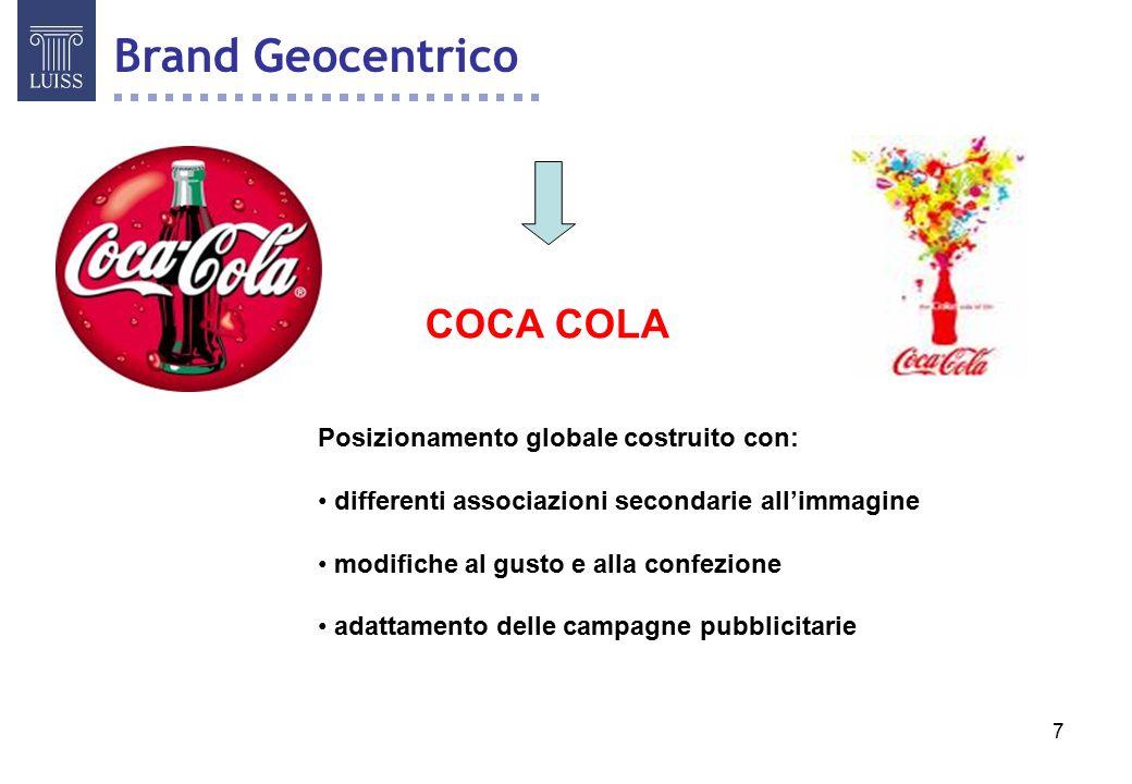 Brand Geocentrico COCA COLA Posizionamento globale costruito con: