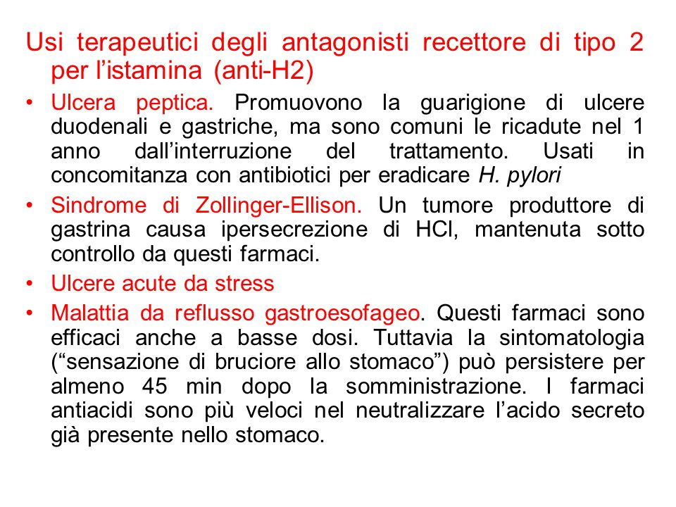 Usi terapeutici degli antagonisti recettore di tipo 2 per l'istamina (anti-H2)