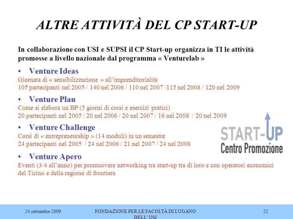 ALTRE ATTIVITÀ DEL CP START-UP