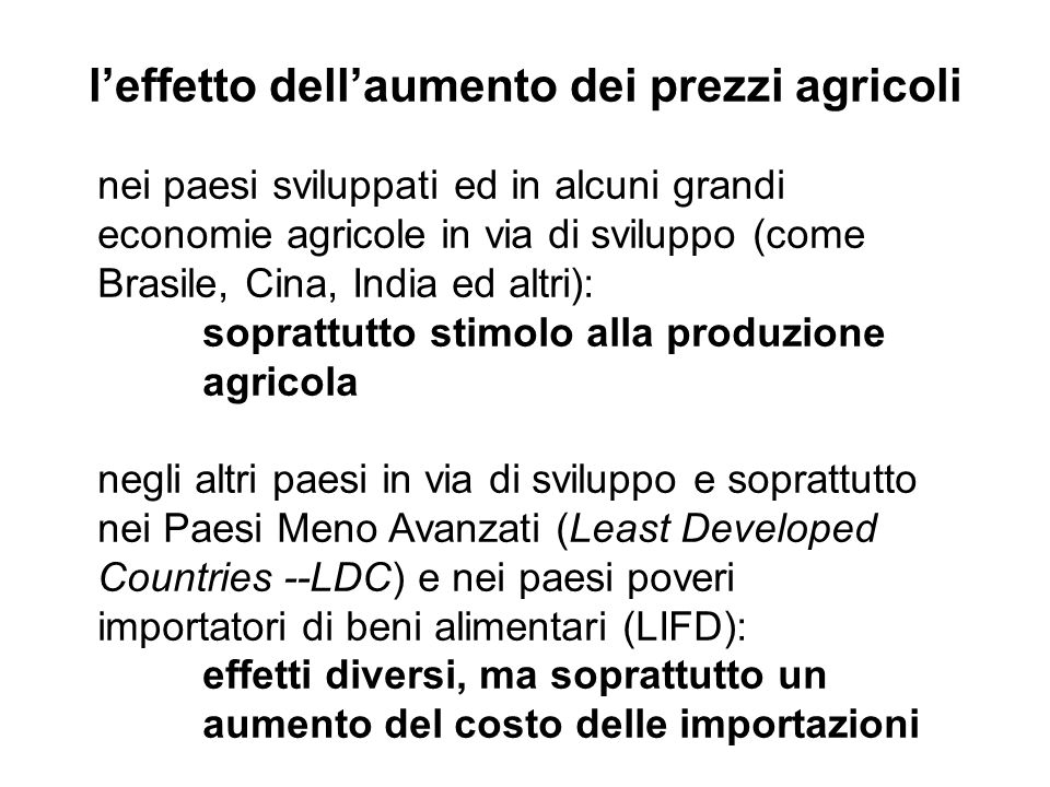 l'effetto dell'aumento dei prezzi agricoli
