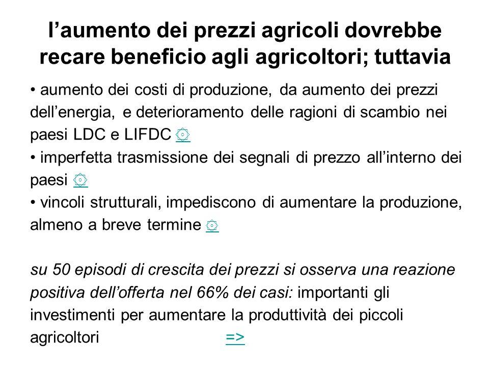 l'aumento dei prezzi agricoli dovrebbe recare beneficio agli agricoltori; tuttavia