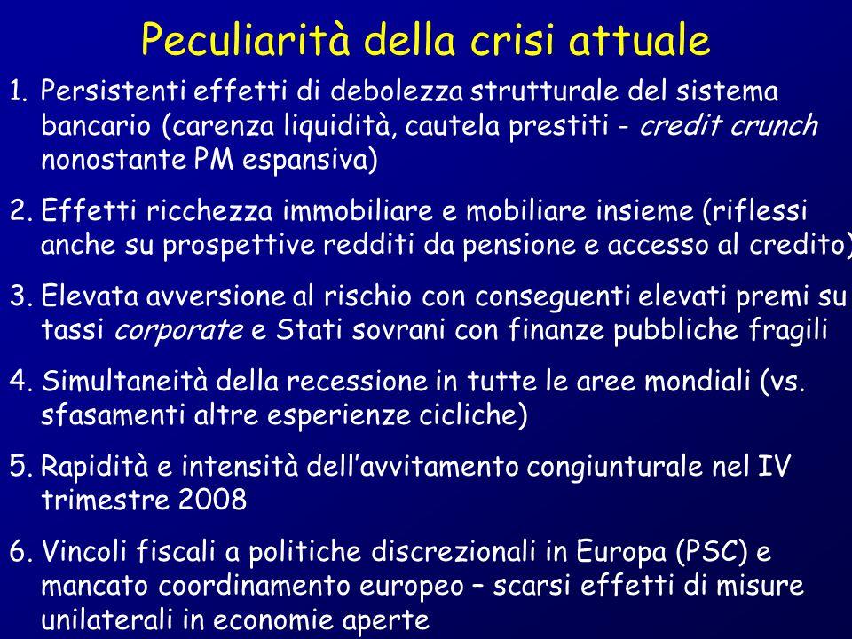 Peculiarità della crisi attuale