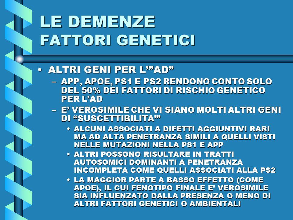 LE DEMENZE FATTORI GENETICI