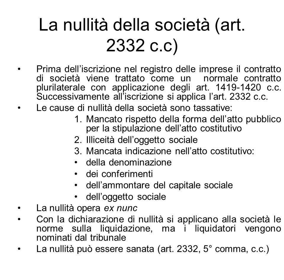 La nullità della società (art. 2332 c.c)