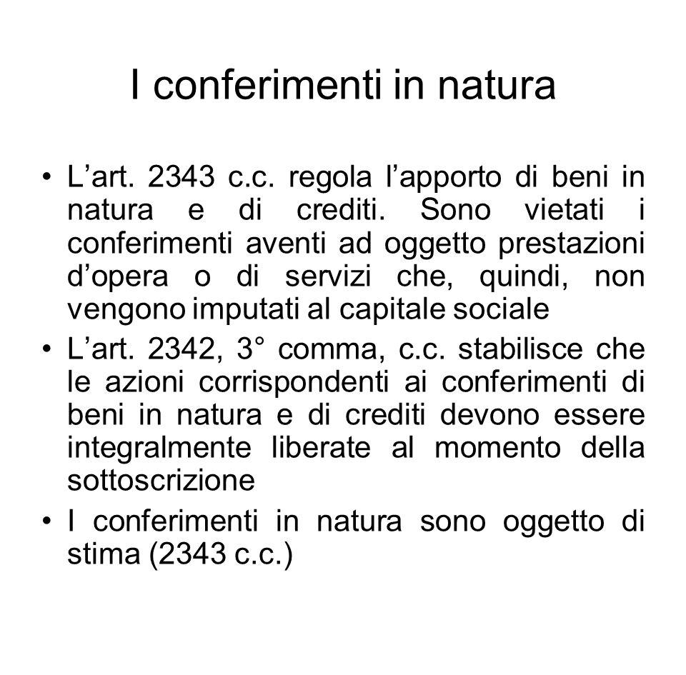 I conferimenti in natura