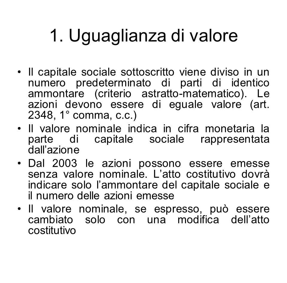 1. Uguaglianza di valore