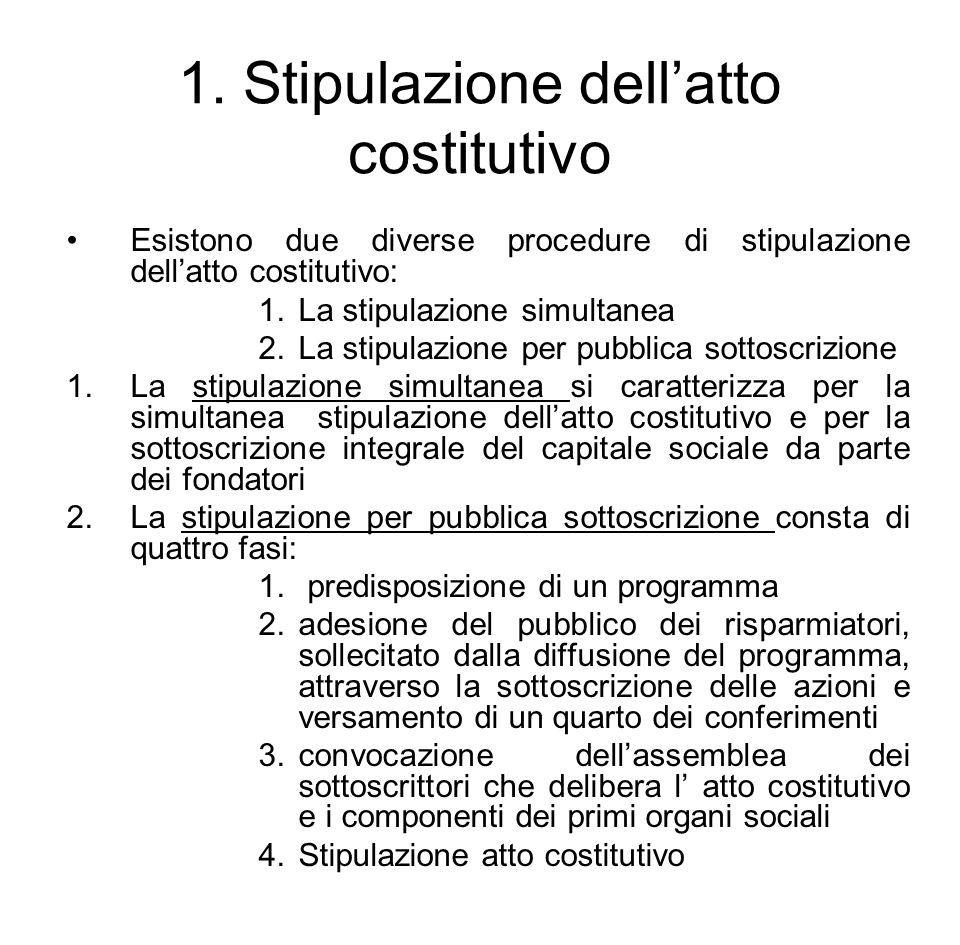 1. Stipulazione dell'atto costitutivo