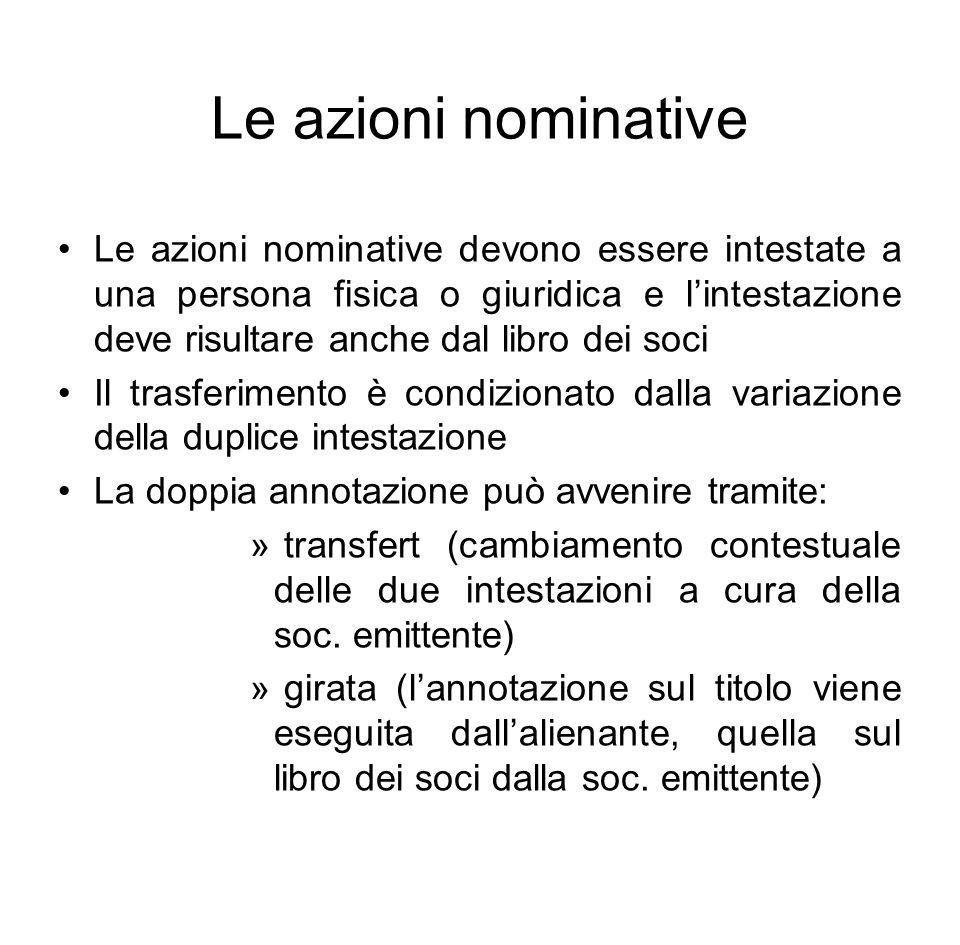 Le azioni nominative