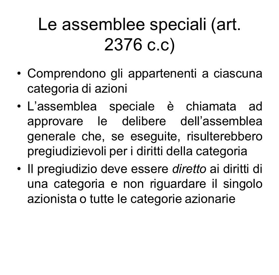 Le assemblee speciali (art. 2376 c.c)
