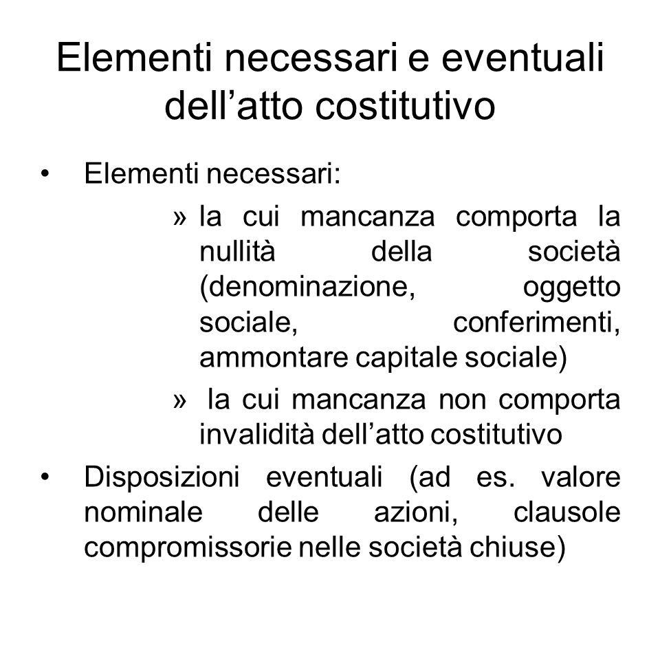 Elementi necessari e eventuali dell'atto costitutivo