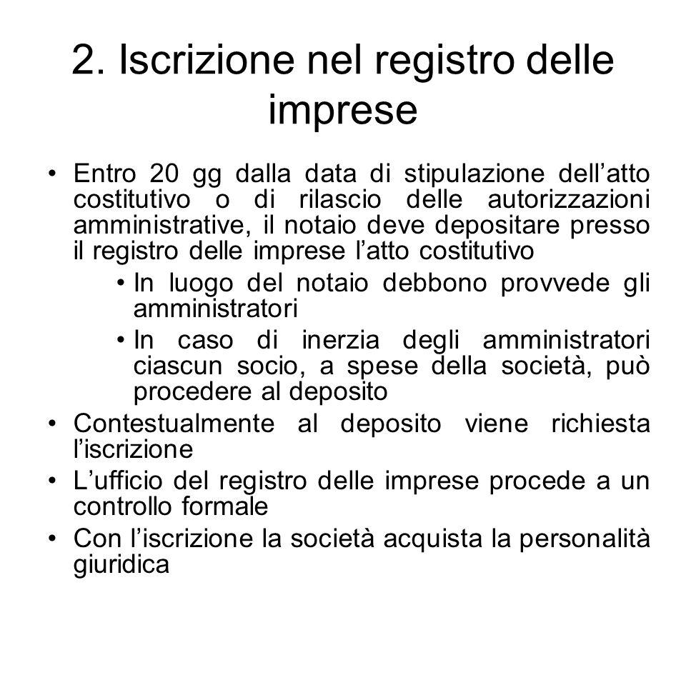 2. Iscrizione nel registro delle imprese