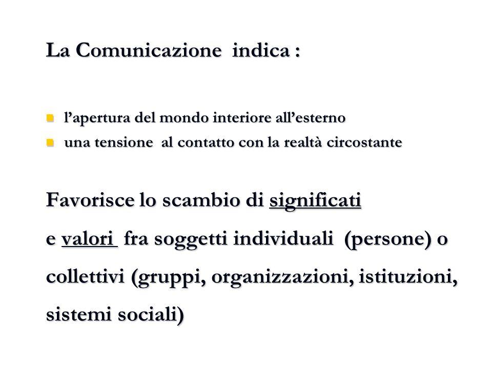 La Comunicazione indica :