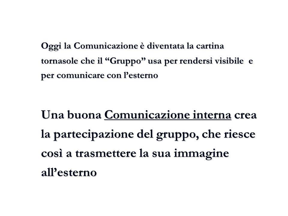 Oggi la Comunicazione è diventata la cartina tornasole che il Gruppo usa per rendersi visibile e per comunicare con l'esterno