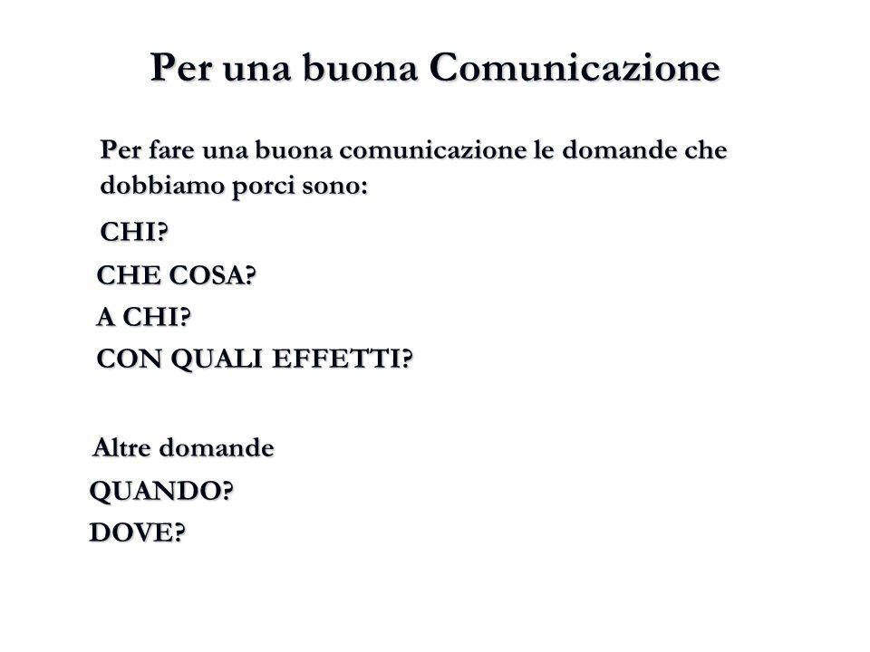 Per una buona Comunicazione