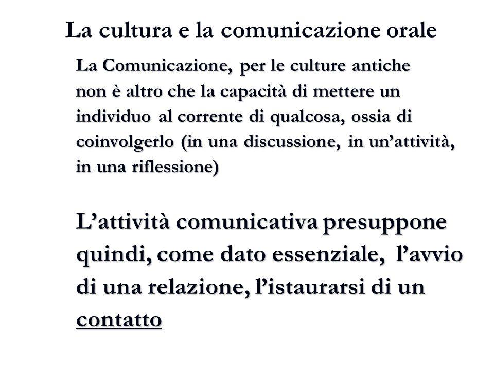 La cultura e la comunicazione orale