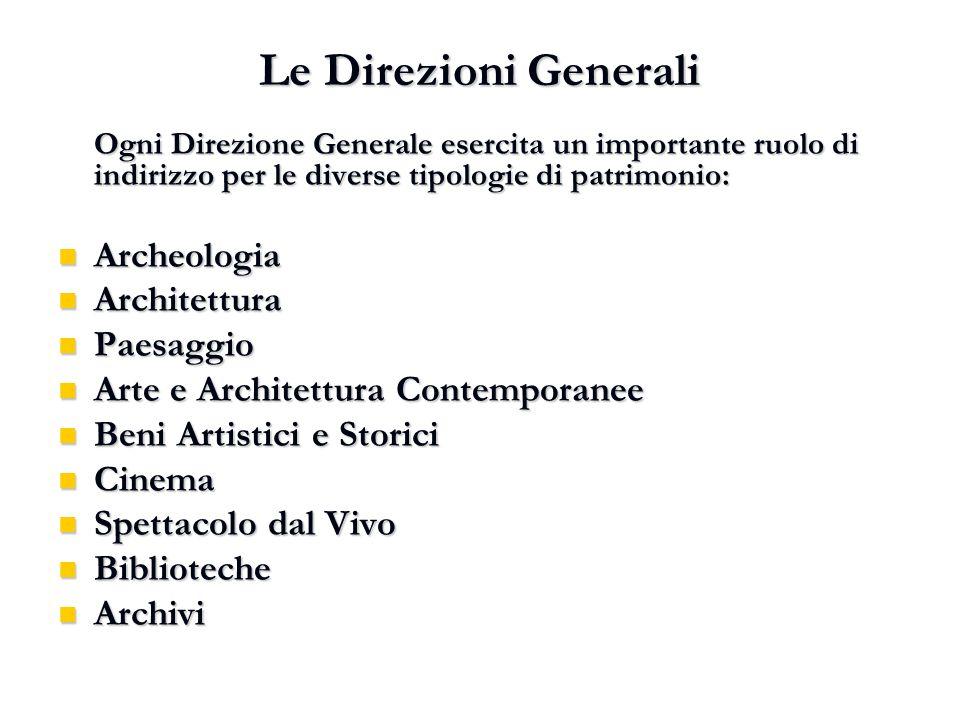 Le Direzioni Generali Archeologia Architettura Paesaggio