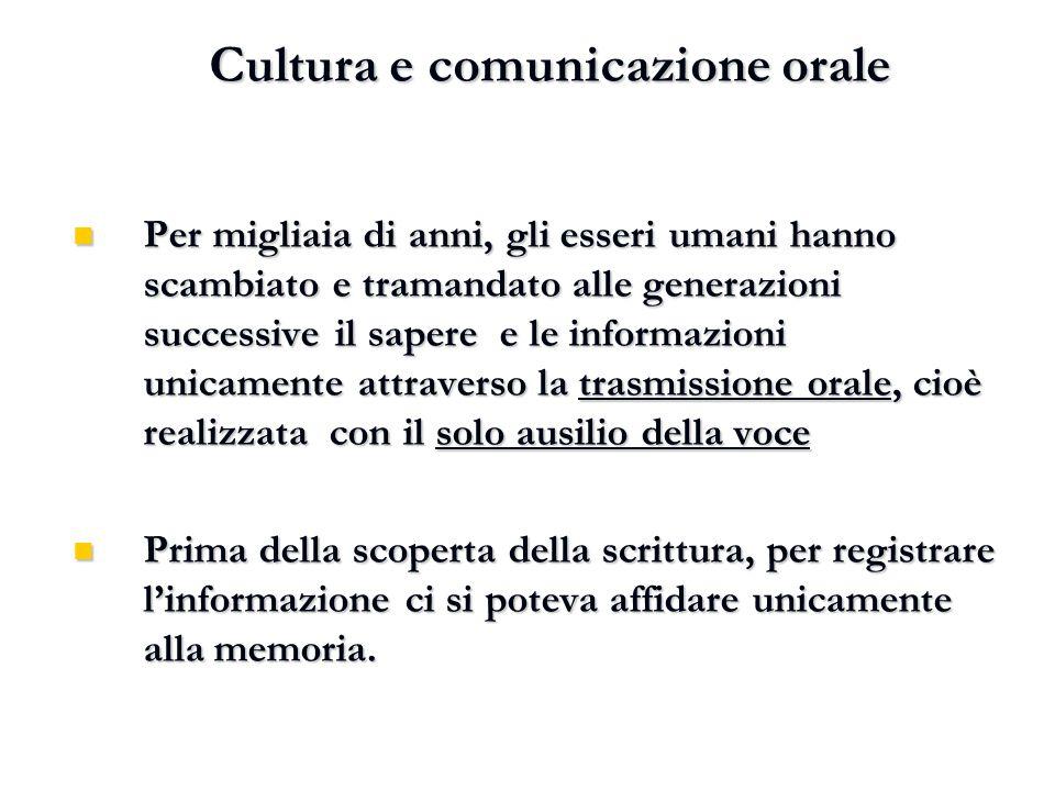 Cultura e comunicazione orale