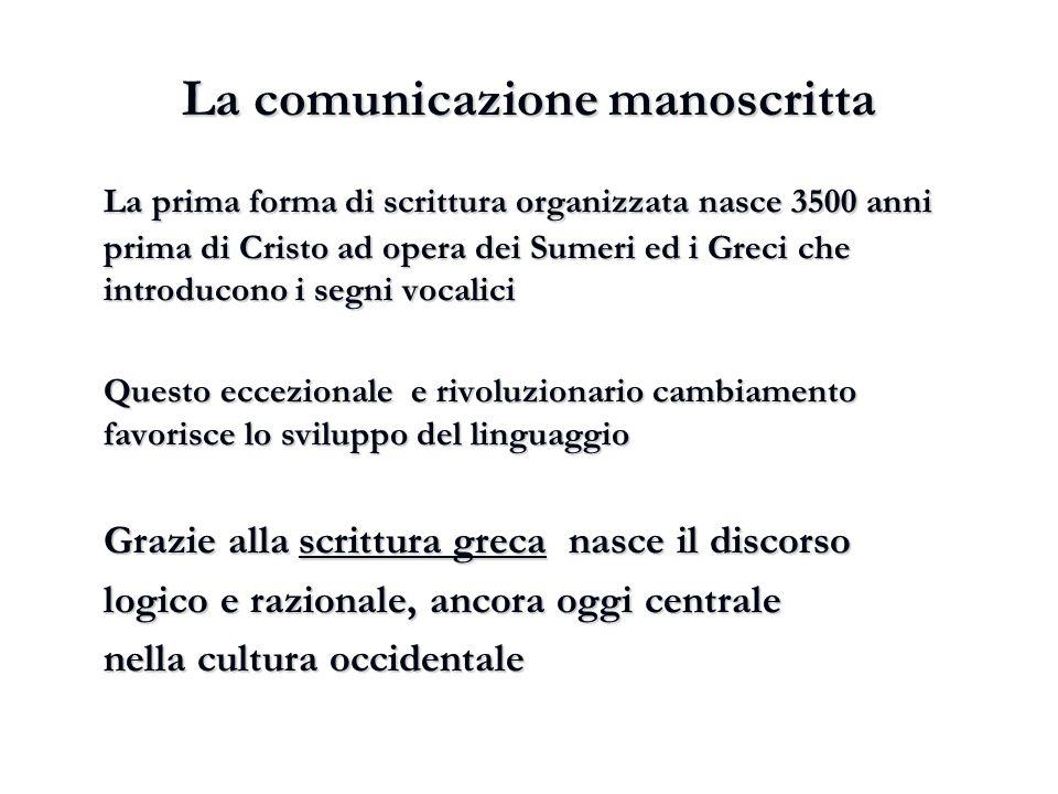 La comunicazione manoscritta