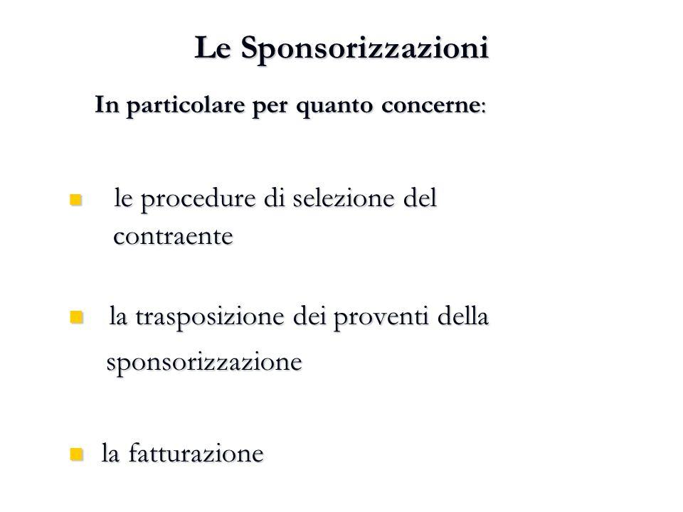 Le Sponsorizzazioni contraente la trasposizione dei proventi della