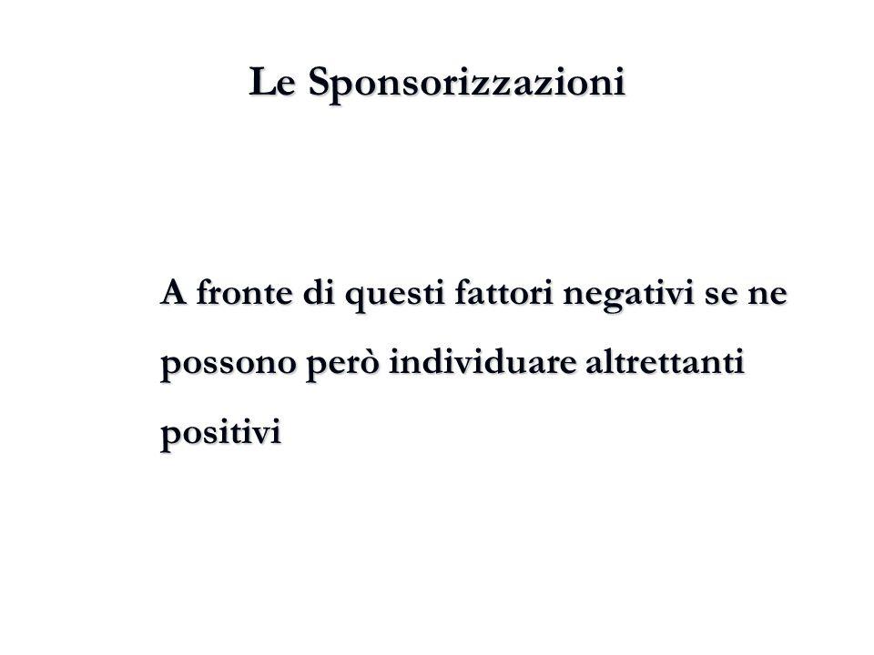 Le Sponsorizzazioni A fronte di questi fattori negativi se ne possono però individuare altrettanti positivi.