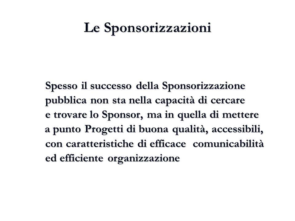 Le Sponsorizzazioni Spesso il successo della Sponsorizzazione pubblica non sta nella capacità di cercare.