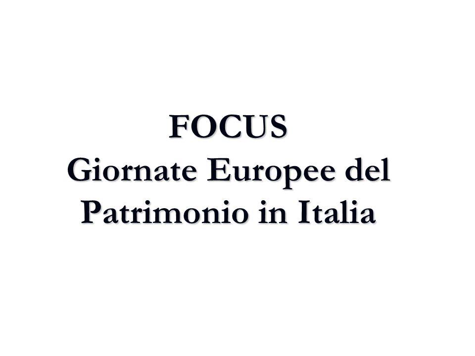 FOCUS Giornate Europee del Patrimonio in Italia