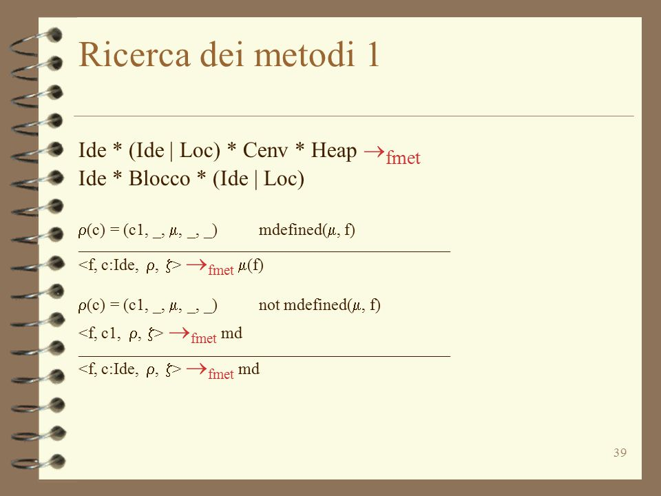 Ricerca dei metodi 1 Ide * (Ide | Loc) * Cenv * Heap fmet
