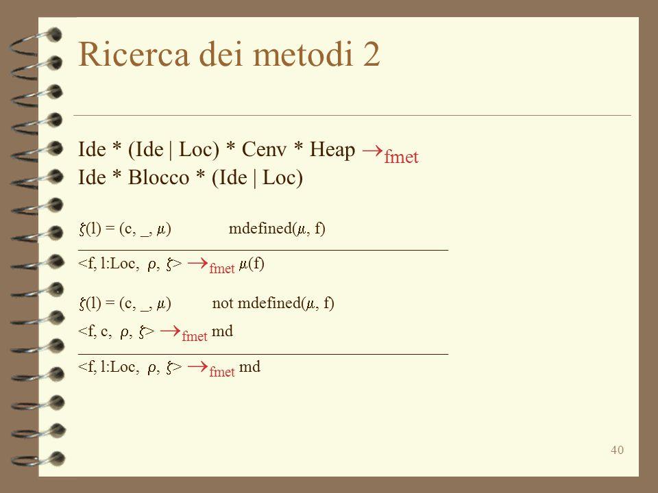 Ricerca dei metodi 2 Ide * (Ide | Loc) * Cenv * Heap fmet
