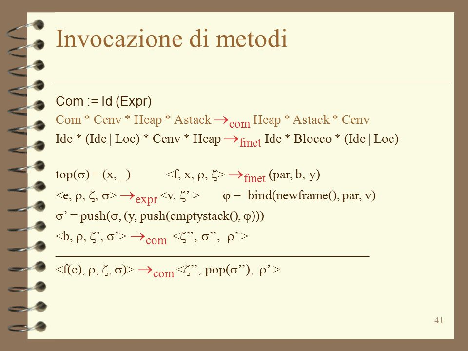 Invocazione di metodi Com := Id (Expr)