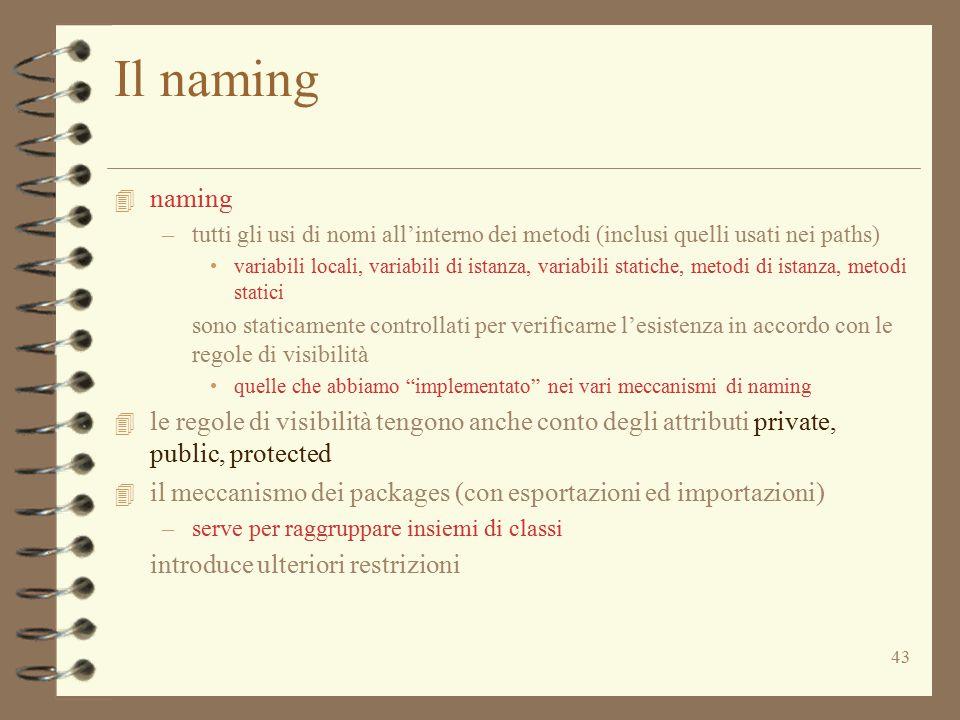 Il naming naming. tutti gli usi di nomi all'interno dei metodi (inclusi quelli usati nei paths)