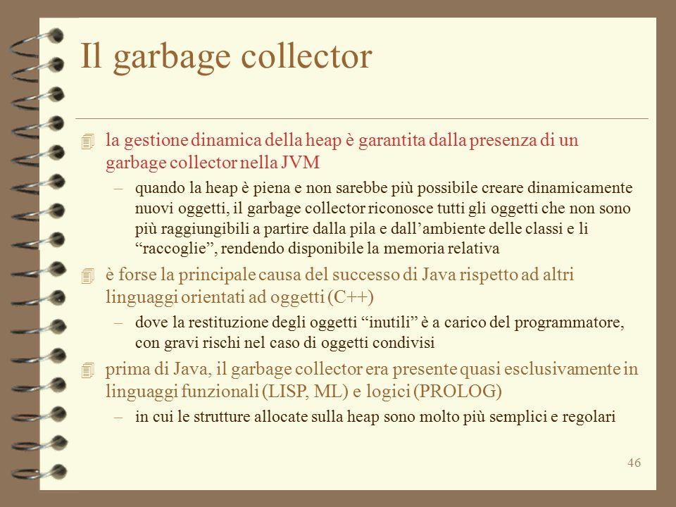 Il garbage collector la gestione dinamica della heap è garantita dalla presenza di un garbage collector nella JVM.