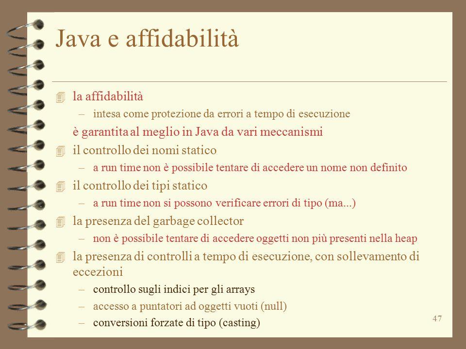 Java e affidabilità la affidabilità