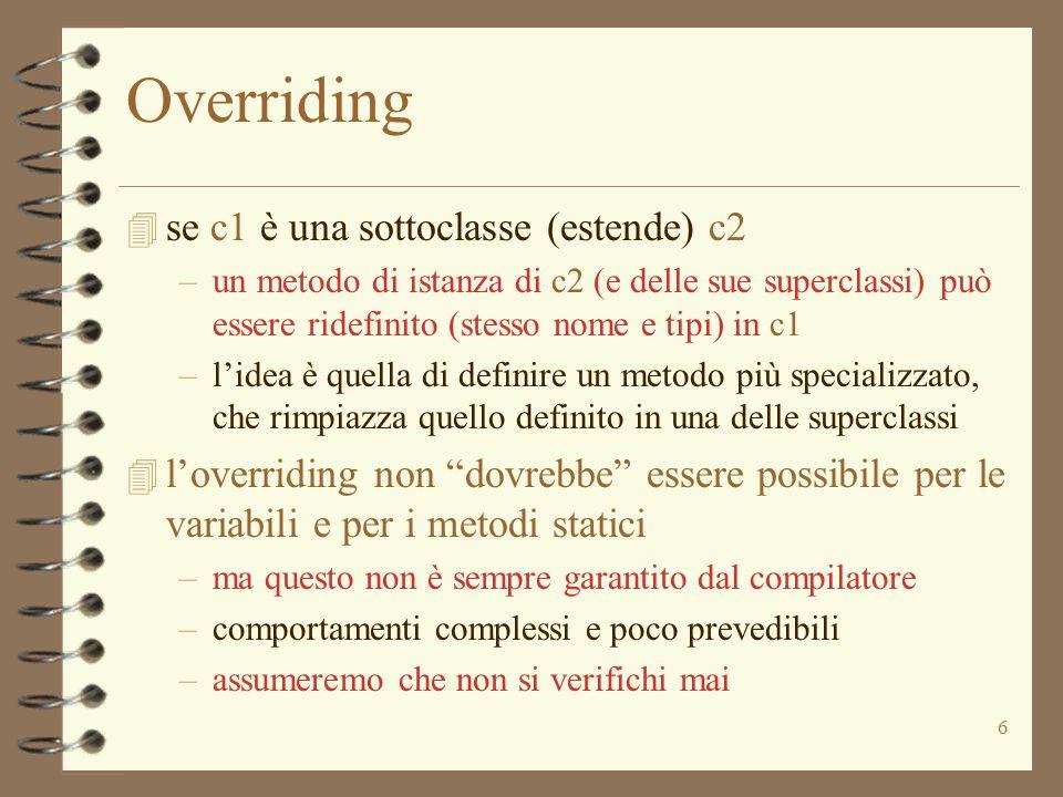 Overriding se c1 è una sottoclasse (estende) c2