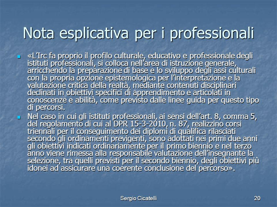 Nota esplicativa per i professionali