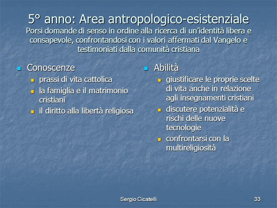 5° anno: Area antropologico-esistenziale Porsi domande di senso in ordine alla ricerca di un'identità libera e consapevole, confrontandosi con i valori affermati dal Vangelo e testimoniati dalla comunità cristiana
