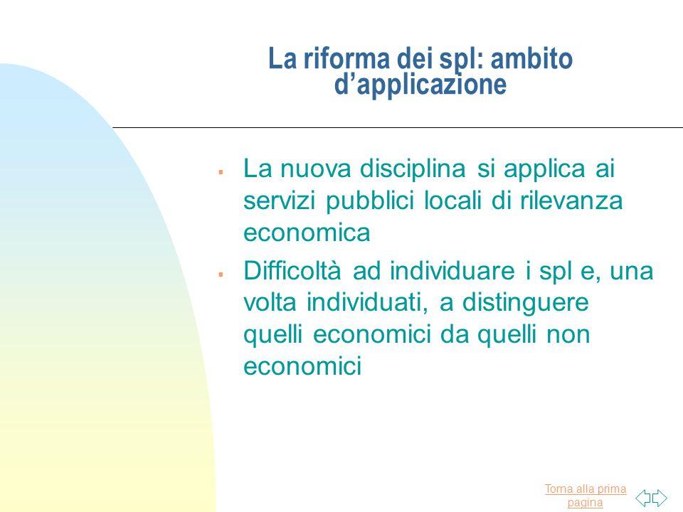 La riforma dei spl: ambito d'applicazione