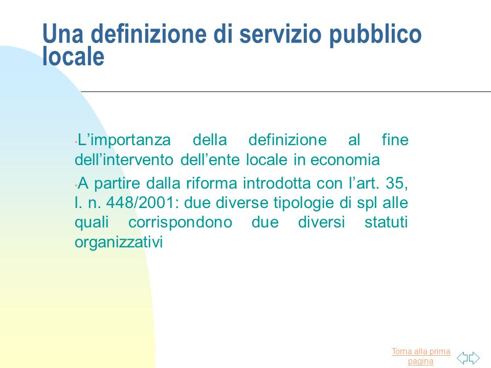 Una definizione di servizio pubblico locale