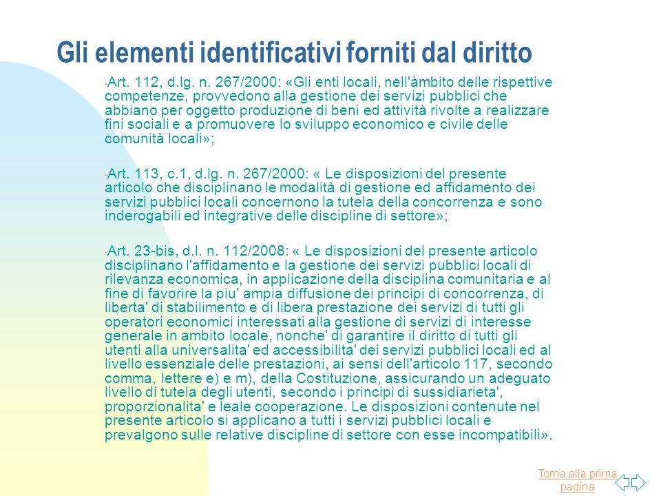 Gli elementi identificativi forniti dal diritto