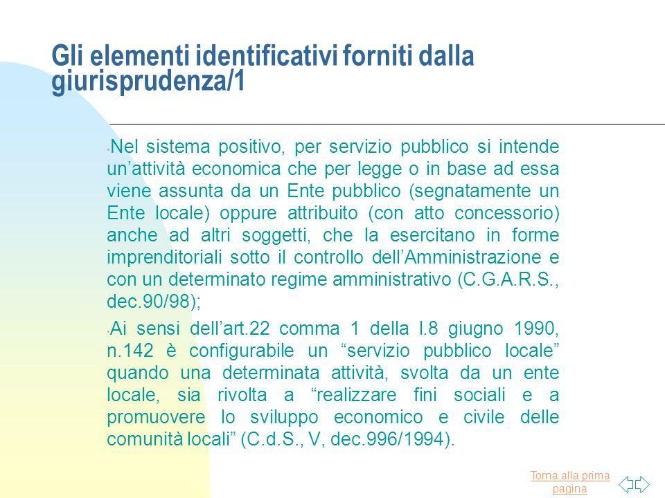 Gli elementi identificativi forniti dalla giurisprudenza/1