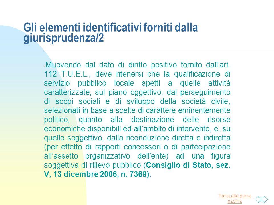 Gli elementi identificativi forniti dalla giurisprudenza/2